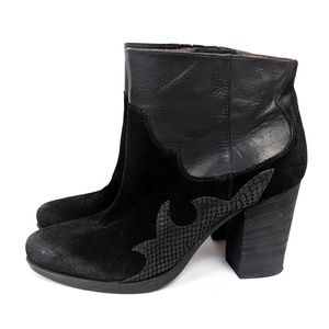 Janet and Janet Leather Western Ankle Booties 39 9